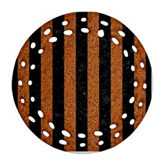 Stripes1 Black Marble & Rusted Metal Round Filigree Ornament (two Sides) by trendistuff