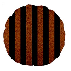 Stripes1 Black Marble & Rusted Metal Large 18  Premium Round Cushions by trendistuff