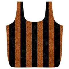 Stripes1 Black Marble & Rusted Metal Full Print Recycle Bags (l)  by trendistuff