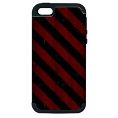 Stripes3 Black Marble & Reddish Brown Wood Apple Iphone 5 Hardshell Case (pc+silicone) by trendistuff
