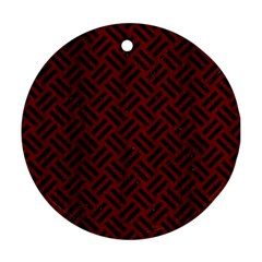 Woven2 Black Marble & Reddish Brown Wood Round Ornament (two Sides) by trendistuff