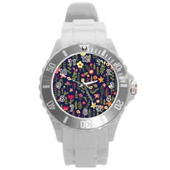 Cute Doodle Flowers 1 Round Plastic Sport Watch (l) by tarastyle