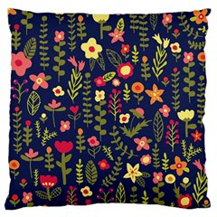 Cute Doodle Flowers 1 Large Flano Cushion Case (one Side) by tarastyle