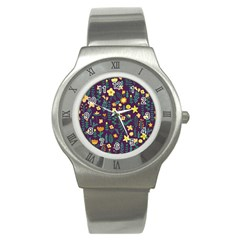 Cute Doodle Flowers 2 Stainless Steel Watch by tarastyle
