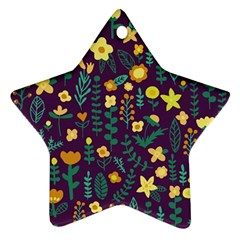 Cute Doodle Flowers 2 Star Ornament (two Sides) by tarastyle