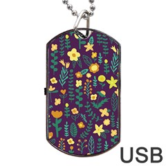 Cute Doodle Flowers 2 Dog Tag Usb Flash (two Sides) by tarastyle