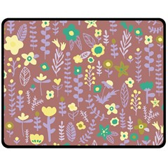 Cute Doodle Flowers 3 Double Sided Fleece Blanket (medium)  by tarastyle