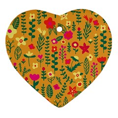 Cute Doodle Flowers 4 Heart Ornament (two Sides) by tarastyle
