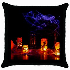 Awaiting Halloween Night Throw Pillow Case (black) by gothicandhalloweenstore