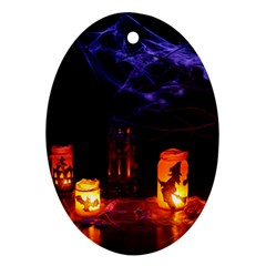 Awaiting Halloween Night Oval Ornament (two Sides) by gothicandhalloweenstore