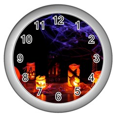 Awaiting Halloween Night Wall Clocks (silver)  by gothicandhalloweenstore