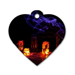 Awaiting Halloween Night Dog Tag Heart (two Sides) by gothicandhalloweenstore