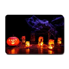 Awaiting Halloween Night Small Doormat  by gothicandhalloweenstore