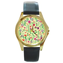 Cute Doodle Flowers 5 Round Gold Metal Watch by tarastyle