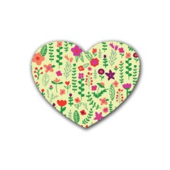Cute Doodle Flowers 5 Rubber Coaster (heart)  by tarastyle