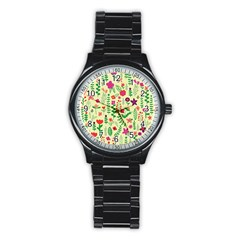 Cute Doodle Flowers 5 Stainless Steel Round Watch by tarastyle