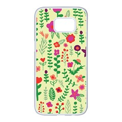 Cute Doodle Flowers 5 Samsung Galaxy S7 Edge White Seamless Case by tarastyle