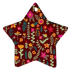 Cute Doodle Flowers 6 Ornament (star) by tarastyle