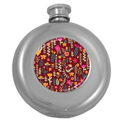 Cute Doodle Flowers 6 Round Hip Flask (5 Oz) by tarastyle