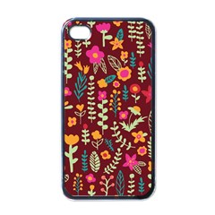 Cute Doodle Flowers 6 Apple Iphone 4 Case (black) by tarastyle