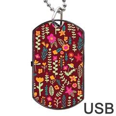 Cute Doodle Flowers 6 Dog Tag Usb Flash (two Sides) by tarastyle