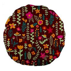 Cute Doodle Flowers 6 Large 18  Premium Round Cushions by tarastyle