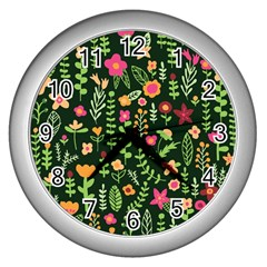 Cute Doodle Flowers 7 Wall Clocks (silver)  by tarastyle