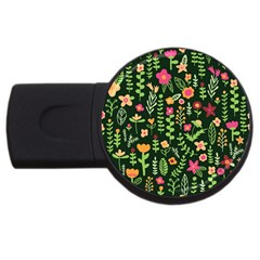 Cute Doodle Flowers 7 Usb Flash Drive Round (4 Gb) by tarastyle