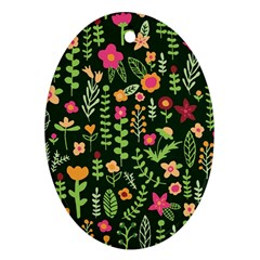Cute Doodle Flowers 7 Oval Ornament (two Sides) by tarastyle