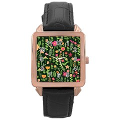 Cute Doodle Flowers 7 Rose Gold Leather Watch  by tarastyle