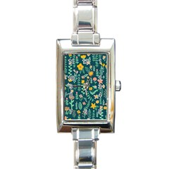 Cute Doodle Flowers 10 Rectangle Italian Charm Watch by tarastyle