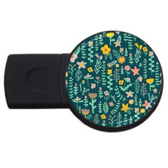 Cute Doodle Flowers 10 Usb Flash Drive Round (2 Gb) by tarastyle