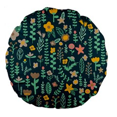 Cute Doodle Flowers 10 Large 18  Premium Flano Round Cushions by tarastyle
