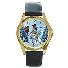 Funny Grimly Snowman In A Winter Landscape Round Gold Metal Watch by FantasyWorld7