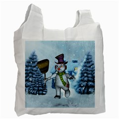 Funny Grimly Snowman In A Winter Landscape Recycle Bag (one Side) by FantasyWorld7