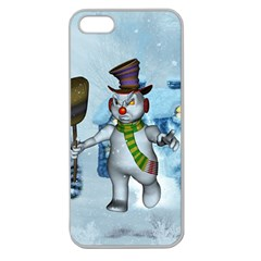 Funny Grimly Snowman In A Winter Landscape Apple Seamless Iphone 5 Case (clear) by FantasyWorld7