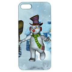Funny Grimly Snowman In A Winter Landscape Apple Iphone 5 Hardshell Case With Stand by FantasyWorld7