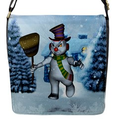 Funny Grimly Snowman In A Winter Landscape Flap Messenger Bag (s) by FantasyWorld7