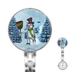 Funny Grimly Snowman In A Winter Landscape Stainless Steel Nurses Watch by FantasyWorld7