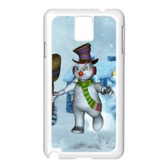 Funny Grimly Snowman In A Winter Landscape Samsung Galaxy Note 3 N9005 Case (white) by FantasyWorld7