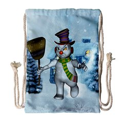 Funny Grimly Snowman In A Winter Landscape Drawstring Bag (large) by FantasyWorld7