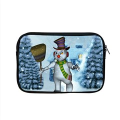 Funny Grimly Snowman In A Winter Landscape Apple Macbook Pro 15  Zipper Case by FantasyWorld7