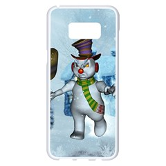 Funny Grimly Snowman In A Winter Landscape Samsung Galaxy S8 Plus White Seamless Case by FantasyWorld7