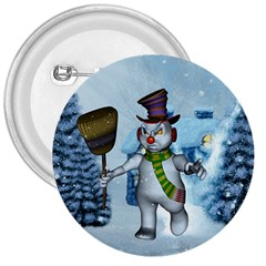 Funny Grimly Snowman In A Winter Landscape 3  Buttons