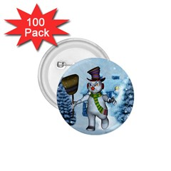 Funny Grimly Snowman In A Winter Landscape 1 75  Buttons (100 Pack)  by FantasyWorld7