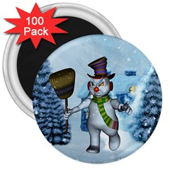 Funny Grimly Snowman In A Winter Landscape 3  Magnets (100 Pack) by FantasyWorld7