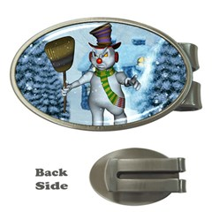 Funny Grimly Snowman In A Winter Landscape Money Clips (oval)