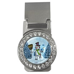 Funny Grimly Snowman In A Winter Landscape Money Clips (cz)  by FantasyWorld7