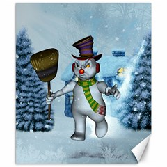 Funny Grimly Snowman In A Winter Landscape Canvas 8  X 10  by FantasyWorld7
