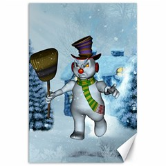 Funny Grimly Snowman In A Winter Landscape Canvas 20  X 30   by FantasyWorld7